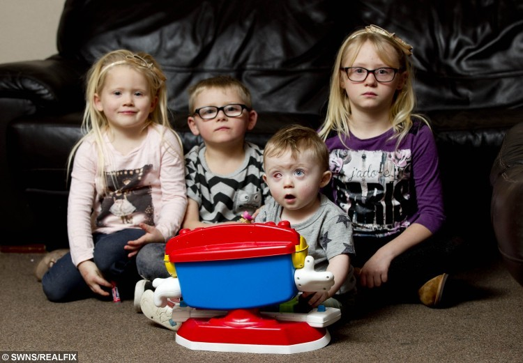 18 month year old Oscar Webb has lost an eye after being hit by a drone, with his siblings (L-R) Lacey Webb (4), Thomas Webb (5) and Ashleigh Webb (9)  Stourport on Severn, November 28 2015. See NTI story NTIDRONE; A devastated couple have issued an urgent warning to parents after their 18-month-old son was struck in the face by an out-of-control drone and lost an EYE. Little Oscar Webb was playing in a neighbour's garden while his dad watched family friend Simon Evans, 29, fly his Ã300 'quadcopter' device with a remote control. But it clipped a tree as he was trying to land it and spiralled out of control, hitting the toddler in the face. Dad Rick Webb, 30, could only watch as the propellers sliced through Oscar's right eye, causing him to scream out in pain. Desperate Rick phoned for an ambulance and paramedics dashed to the house in Stourport-on-Severn, Worcs., at around 1pm on October 10.