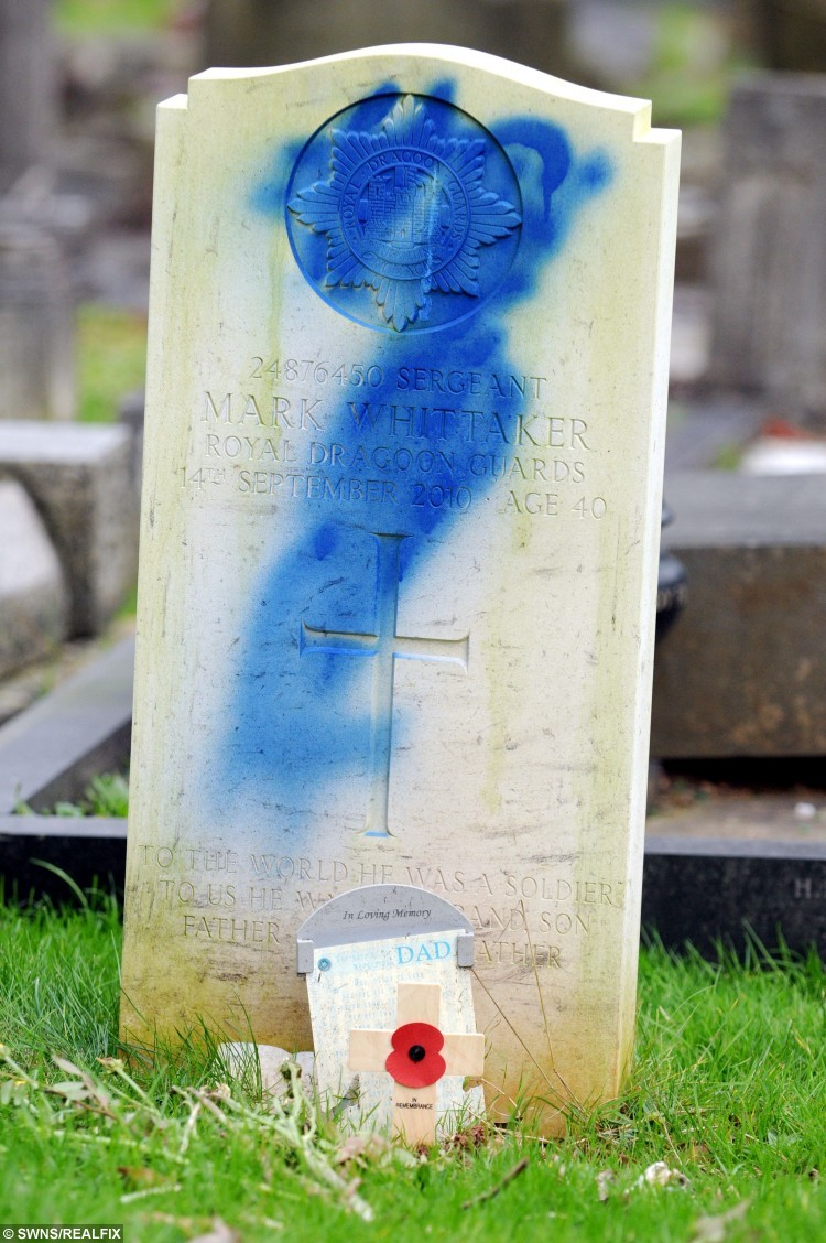 Graves that have been vandalised at Nottingham Road Cemetery in Chaddesden, Derbys.  Police are hunting a gang of sick cemetery vandals who spray-painted 24 graves - including those of dead soldiers - with SWASTIKAS and graffiti on Armistice Day.  See NTI story NTIGRAVES.  Grieving relatives were disgusted when they discovered their loved-ones graves had been attacked hours before the nation remembered the fallen.  In an appalling display of disrespect, 24 graves where vandalised at Nottingham Road Cemetery, in Chaddesden, Derbys., causing more than Ã6,500 of damage.  Among graves defaced were those dedicated to fallen soldiers and the discovery was made just minutes after the country came to a standstill at 11am for Armistice Day.  Obscene drawings, swear words, swastikas and sinister messages were daubed on graves across the cemetery betweenTuesday night and Wednesday morning.  Yesterday, family members were in tears scrubbing the graffiti from the graves, which included those of toddlers and some family plots.