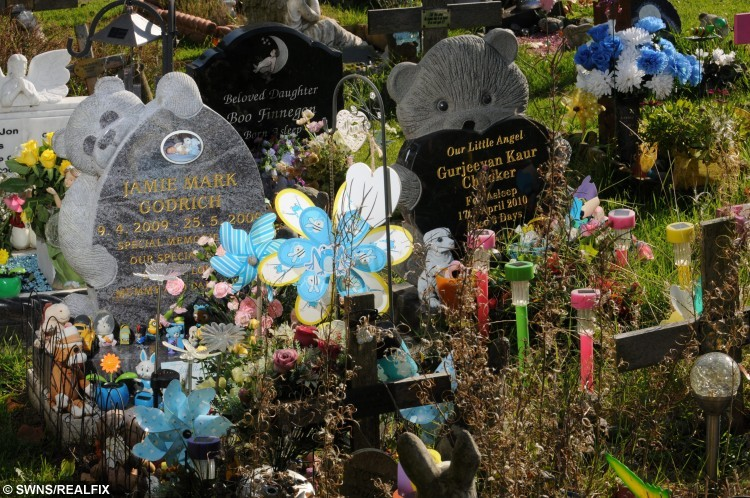 The grave of Jamie Mark Godrich at The Baby Garden at Nottingham Road Cemetery in Nottingham. See NTI story NTIGRAVE; A desperate mum may have her baby boy's body EXHUMED because thieves keep stealing toys from his grave. Heartbroken Tracey Bolton, 43, has been leaving teddy bears and toys at tragic Jamie Godrich's grave, who died in 2009 when he was just six weeks old. Cruel thieves have targeted the grave three times in the past month, stealing Lego and action figures from Nottingham Road Cemetery in Chaddesden, Derbys. The heartless yobs have caused further misery by throwing toys across the cemetery and Tracey feels she is being deliberately targeted.
