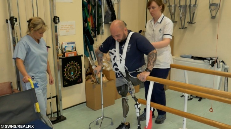 War hero Rick Clement who lost both legs when he stepped on a bomb in Afghanistan showed British Bulldog fighting spirit after defying the odds to walk again. Pictured during in his rehabilitation. See Ross Parry copy RPYREBUILD : Sgt Rick Clement lost both his legs, suffered horrendous internal injuries that mean he can never become a dad, and almost lost his right arm when the Taliban bomb exploded five years ago.  Now his gruelling journey, which saw him lay a wreath unaided on Remembrance Sunday, will be told in an hour-long documentary today (Mon). Speaking after his incredible feat on Remembrance Sunday, Rick, of Blackpool, Lancs., said: ÃToday has been very emotional and thereÃs been lots of difficult moments along the way but I never had any doubts I would do it because IÃd set my mind on it. But today is not about me it is about people coming together to remember those we have lost, those that fought and those that are still fighting for our country.Ã