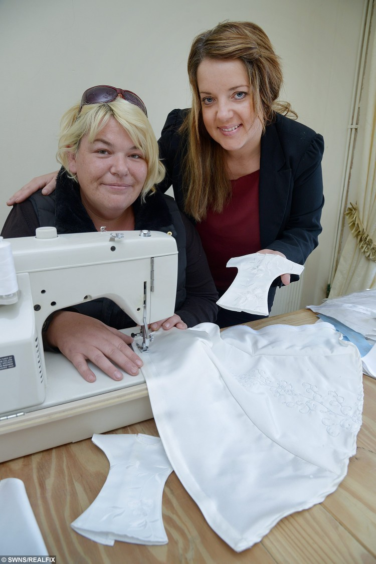 """Amanda Ibbotson and Mandy Shippey from Bridlington, North Yorkshire, who turn donated wedding dresses into baby gowns for stillborn babies. See Ross Parry copy RPYGOWNS : A woman is offering grieving parents a unique way to say goodbye to their beloved babies - by transforming beautiful wedding dresses into burial outfits. Mandy Shippey, 40, has set up not-for-profit organisation Too Beautiful for Earth with her friend Amanda Ibbotson, 37. Mandy has been inundated with donations so far - receiving 30 wedding dresses and material and buttons to make waistcoats for little boys. Mandy, who first saw the project in America, said: """"I properly started the project about a month ago and have had such as amazing response. """"We have had 30 wedding dresses donated so far and a lot of local businesses have helped us with material, buttons and blue cotton for waistcoats for little boys."""