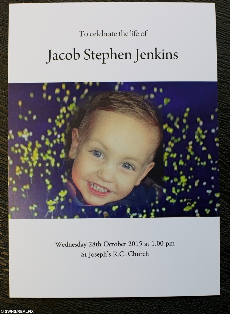 Order of service at the funeral of Jacob Jenkins, 2, from Hartlepool, who died after choking on a grape at Pizza Hut. October 28 2015. See RPYGRAPE