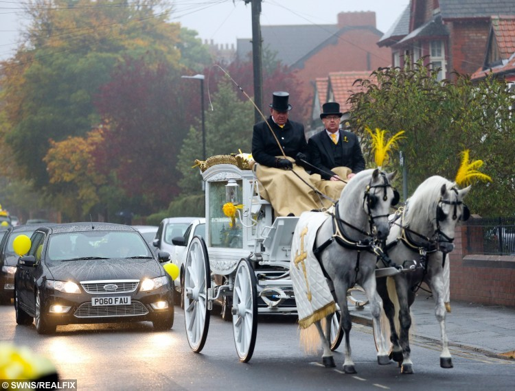 The coffin arrives in a white horse-drawn carriage followed by seven black limousines at the funeral of Jacob Jenkins, 2, from Hartlepool, who died after choking on a grape at Pizza Hut. Mourners were asked to wear black and white with a flash of yellow to the funeral at St Joseph's RC Church in Hartlepool. October 28 2015. See RPYGRAPE