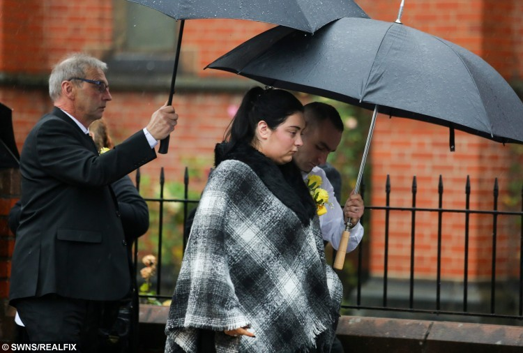 Jacob Jenkin's Mother Abigail and his father David arrive at St Josephs RC Church in Hartlepool for their son's funeral. Jacob, aged two, died after choking on a grape at Pizza Hut. October 28 2015. See RPYGRAPE