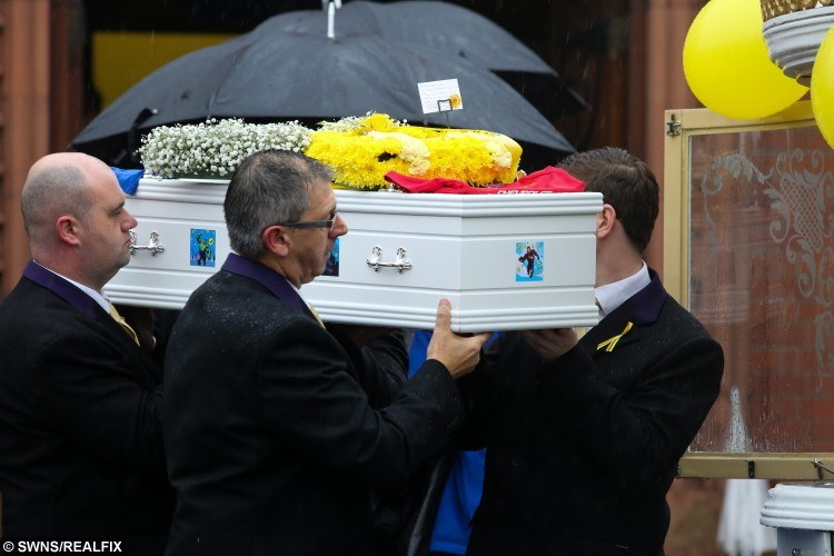 Jacob's coffin is carried from the church and into a waiting horse drawn carriage, at the funeral of Jacob Jenkins, two, who died after choking on a grape at Pizza Hut. His funeral took place today at St Josephs RC Church in Hartlepool. October 28 2015. See RPYGRAPE