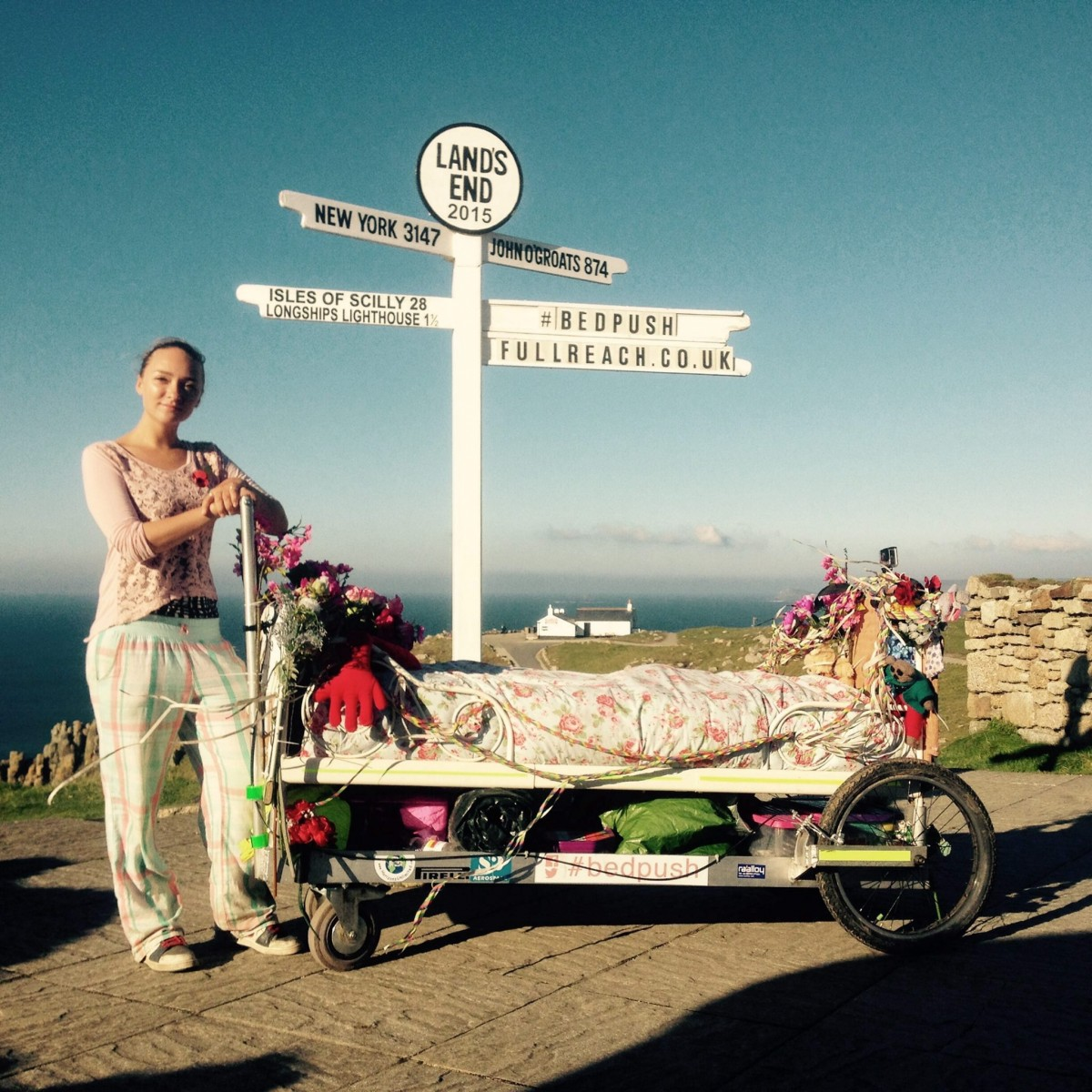 Woman pushes her bed from John O'Groats to Land's End for children's home