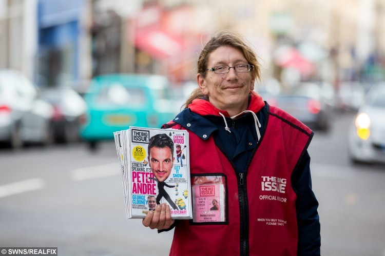 Big Issue seller Jack Richardson who found love with a woman he asked for money. Bristol. 22 November 2015.   See SWNS story SWTRAMP; One of Bristol's best known Big Issue sellers is getting married to a woman he first met when he asked her for money while begging. But when Jack Richardson asked Toni Robinson for money almost two years ago, she apologised saying that she had none. Jack ended up giving Toni 50p so she could feed her electricity meter enabling her not to have to spend Christmas 2013 in the dark. Over the next year, Toni often used to pass Jack's Big Issue pitch outside Boston Tea Party on Park Street and they became firm friends. When JackÃs squat in a garage near the Victoria Rooms in Clifton got boarded up and he had nowhere else to go, Toni offered to put him up for a couple of months.