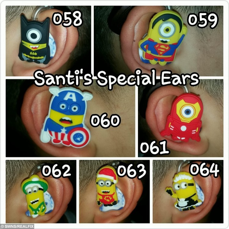 """Collect photos of minion hearing aid covers. See SWNS story SWHEAR; A mum has helped her deaf son beat the bullies by putting colourful cartoon covers - on his HEARING AIDS. Little Santiago Lozada was diagnosed with deafness earlier this year after having trouble concentrating at school and ordered to wear two hearing aids. Nathalie Lozada, 32, was horrified when she realised her five-year-old son was being teased at school because of his new hearing aids, which he hated wearing, so she decided to stick his favourite cartoon characters on the sides. Nathalie, a deputy nursery nurse, said: """"He was given hearing aids but associates them with his school uniform so doesn't like to wear them."""""""