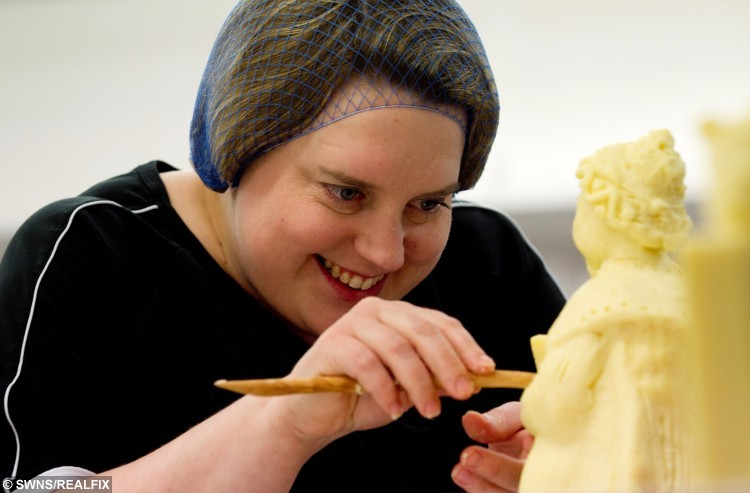 Artist Prudence Staite who has made a nativity scene made out of cheese.  It is exactly one month until Christmas and no festive period is complete without great cheese and a nativity scene à so why not combine the two? A Cheddar cheese company has done just that - hired a sculptor who used around 40KG of mature cheddar to carefully fashion a highly detailed scene, complete with all the essentials of a Christmas nativity. At first glance it may look like a typical nativity setting, but there is one key difference with this seasonal scene à it has been painstakingly crafted by hand entirely from cheese. There is, of course, a cheese Joseph and cheese Mary huddled around a cheese crib with a cheese shepherd and even cheese wise men carrying gifts of Branston pickle, as well as cheese sheep, a cheese cow and, of course, a cheese donkey in tow. But at the centre of the meticulously sculpted model, which also has its own detailed stable housing the characters, is the young infant whose story is so famed à Baby Jesus. Commissioned by Pilgrims Choice cheddar cheese, the nativity scene was hand-carved by renowned food artist Prudence Staite in her special workshop based in Tewkesbury, Gloucestershire. See swns story SWCHEESE.