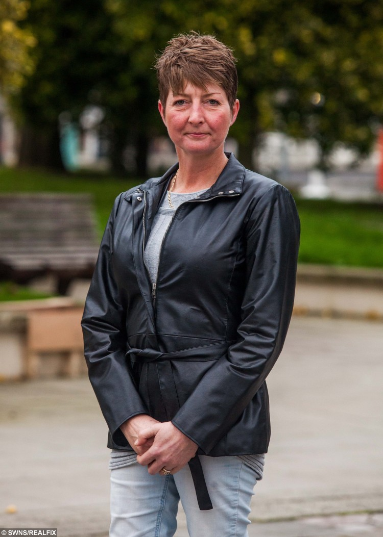 "Leyna Tucker outside of Plymouth Crown Court in Devon, after hearing the judges verdict to Andrew Fulcher. See SWNS story SWVICTIM; A woman who was sexually abused by her stepfather has spoken out after watching him jailed - thirty years after he attacked her. Brave Leyna Tucker, 46, faced her abuser Andrew Fulcher, 64, in court - and afterwards waived her right to anonymity to encourage other victims of abuse to come forward. Fulcher had denied eight counts of indecent assault against Leyna and another girl between 1930 and 1987, but was convicted by a jury. Leyna smiled as she left the court, as Fulcher was branded ""evil and sadisctic"" by a judge who sentenced him to four years behind bars."