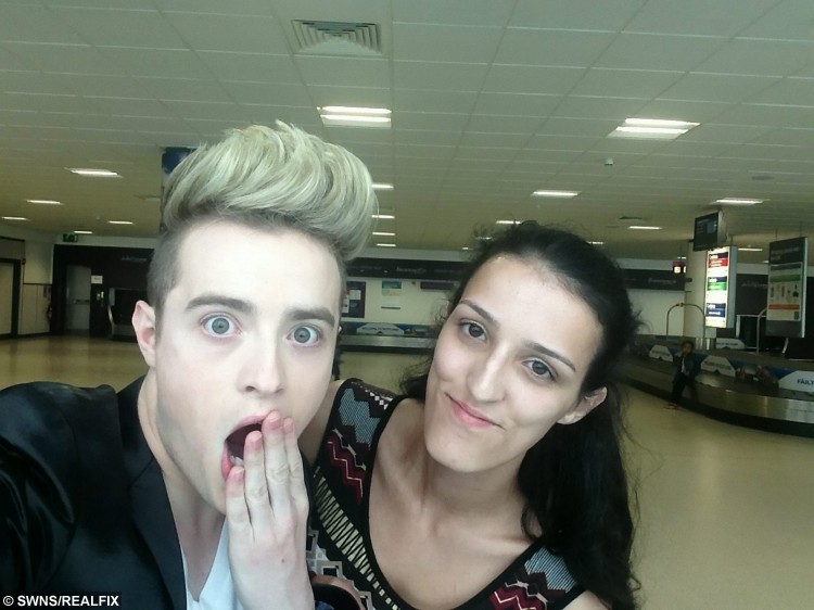 Catia Sousa with Jedward at Edinburgh airport in June 2015. See SWNS story SWJEDWARD: A die-hard fan has spent a staggering Ã20,000 following JEDWARD around the world and has attended more than 400 of their concerts. Dedicated Catia Sousa, 20, became obsessed with quiffed identical twins John and Edward Grimes after they shot to fame on The X Factor in 2009 and has not looked back. This year alone she has been to more than 50 Jedward events including concerts and fan meet-ups and has spent all her earnings, savings and student loan on them. Single Catia even took two years out after school to dedicate her life to the boyband and postponed her degree at the University of London until this year.