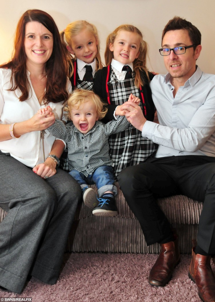 Helen Lumley and husband Nick with twins Daisie and Phoebe and youngest child Teddy.  A couple spent ten years and nearly Ã27,000 to have twins using IVF Ã but then had their third baby naturally.  See SWNS story SWIVF.  Childhood sweethearts Helen and Nick Lumley had two attempts at intrauterine insemination, where sperm are placed inside the uterus, and one attempt at IVF funded by the NHS.  But Helen, who suffers from polycystic ovary syndrome, still did not fall pregnant and the couple had to go private, remortgaging their house and borrowing money to become parents.  Helen, now 38 and living in Maidenbower, West Sussex, had twins Daisie and Phoebe after a decade of trying.