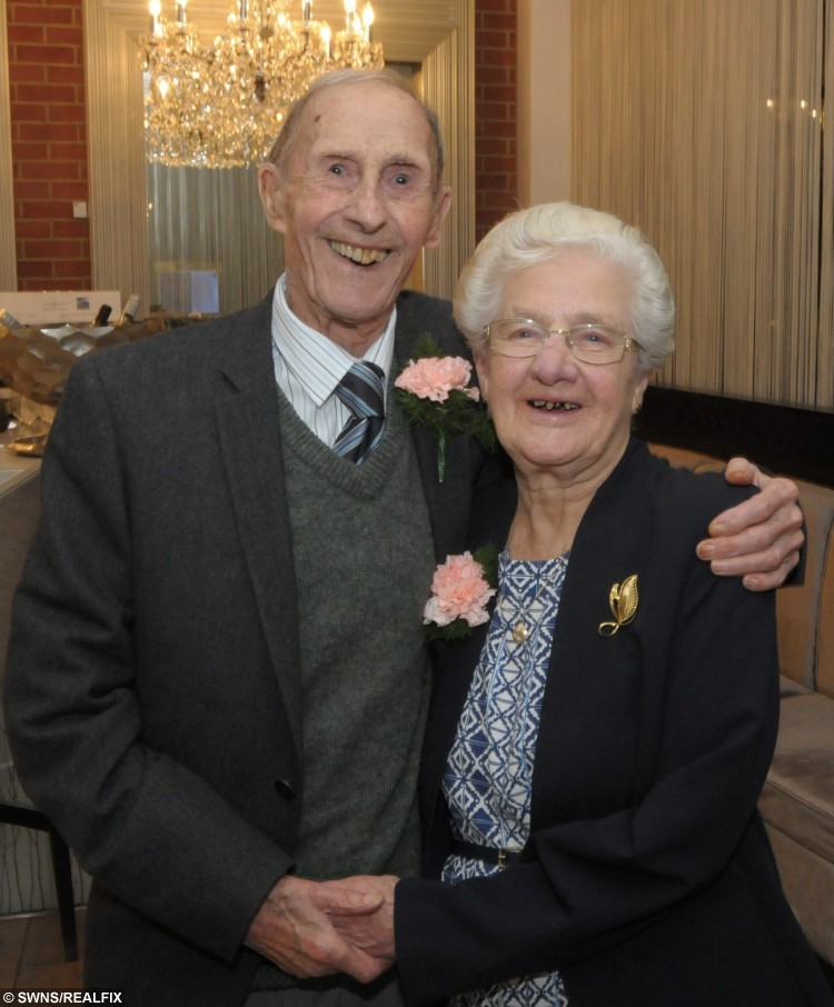 Dorothy, 91, and Leonard Taylor, 93, from Thanet, Kent, who met by chance in World War Two have just celebrated their PLATINUM anniversary and say they have NEVER argued in 70 years. See SWNS copy SWWED. Dorothy and Leonard Taylo met on a blind date after another serviceman had to cancel last minute, so Leonard - feeling lucky -  took his place. The platinum pair instantly hit it off in Wiltshire, where Dorothy lived with her family and Leonard was based while serving in the RAF.