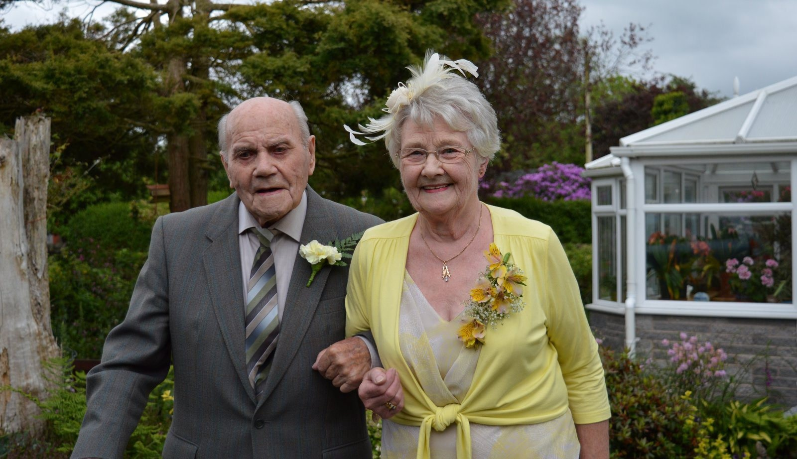 Best man Dan Clements and his wife Heather Dodds at the wedding of life long friend Sandy Little and his wife Sue Little. See Centre Press story CPBESTMAN; A centenarian has been officially recognised as the oldest best man at a wedding - at the age of 102. Farmer Dan Clement - who is only SEMI-retired - broke the world record after organising a stag do that involved drinking shots of whisky. He also had wedding guests in stitches with a traditionally funny speech featuring a series of jokes about a ploughman and his cows. Dan agreed to the honour for lifelong friend, Alex 'Sandy' Little, and his bride Sue, who got married in June.