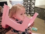 Toddler rescued by firefighters after getting her head stuck in a toilet seat