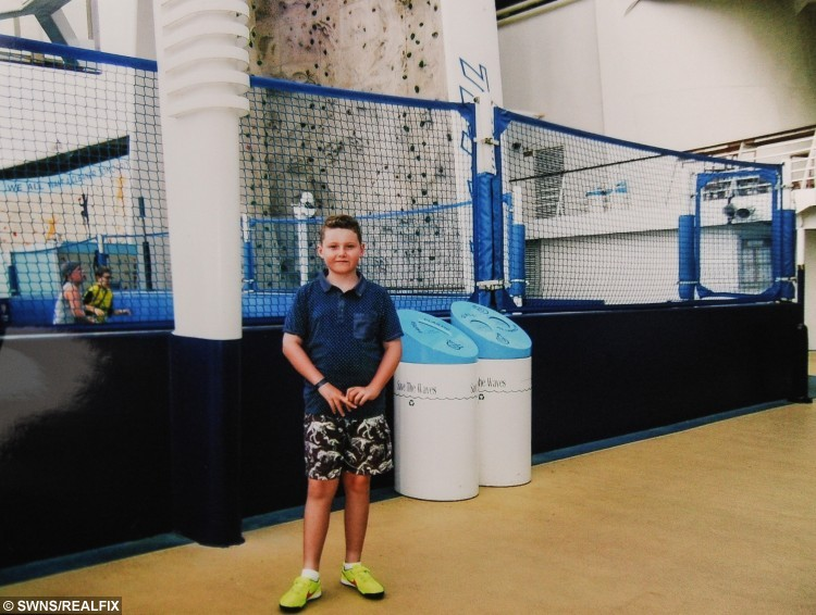 COLLECT - 10-year-old Miles Parrish on holiday.  A mum has hit out at controversial term-time holiday rules – after being fined £120 for taking one of her sons out of lessons while her other child escaped punishment for going on the same trip.  See NTI story NTIHOLS.  Michelle Parrish' sons Cameron and Miles Parrish missed lessons to go on the two-week 'once-in-a-lifetime' Caribbean cruise with their extended family during October.  The absence of Michelle's eldest child Cameron, aged 14, was approved without financial penalty by Wolstanton High School.  But 10-year-old Miles's term-time holiday incurred the wrath of the headteacher at Wolstanton's St Margaret's Junior School.