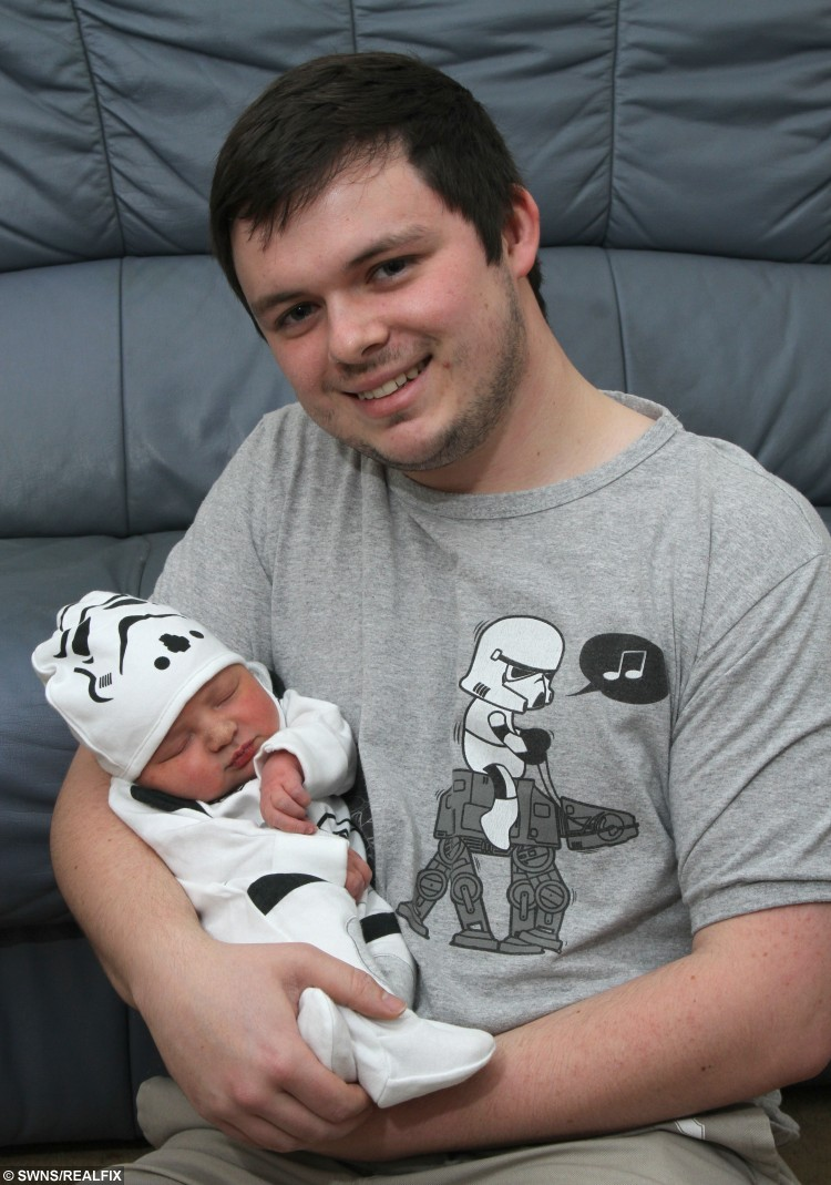 "Callum Page, 23 with new baby daughter Thea. See Ross Parry copy RPYBABY: A Star Wars fan fled a midnight showing of The Force Awakens to arrive at hospital just in time to say: ""I am your father"" to his newborn baby daughter. Callum Page, 23, was forced to miss the latest film in the much-hyped saga as girlfriend Kirsty Harrison went into labour. He was unable to talk her into calling their little girl Leia, but settled on Thea which has a familiar ring. Callum, from Blackpool, Lancs., said: ""I was at the cinema, with my Star Wars popcorn and drink, all ready for the start and Kirsty texted me and I had to rush to the cinema."