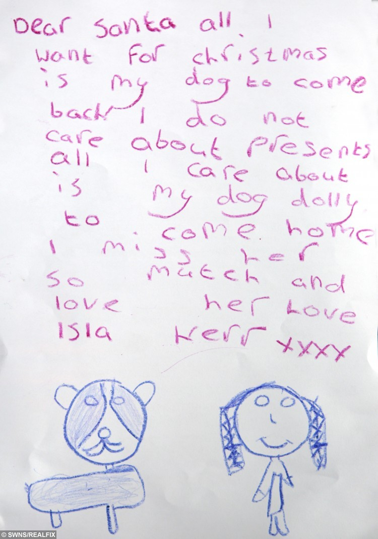 isla kerr 7 writes a letter to santa claus asking him to find her