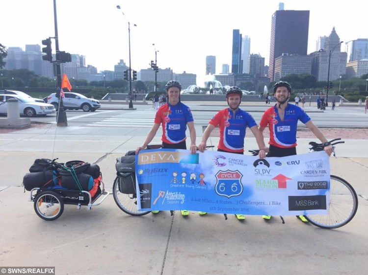 James Will and Eaun (L-R) setting off in Chicago, America. See Ross Parry copy RPYROUTE: Three friends are lucky to be alive after a truck ploughed into them at 65mph as they cycled the world-renowned Route 66 highway. Ewan Stott, Will Corran and James Watkins, all 23, were left with life-changing injuries after being thrown from their three-person tandem bike during the 2,448 mile charity feat from Chicago to Los Angeles. They spent ten months training for the gruelling challenge, and their friendship was tested to the limit as they geared up to become the first threesome to ever complete it on one bike. But after getting 650 miles under their belts, their dream of getting to the finish line was left in tatters when a Chevrolet pick-up truck careered into them, sending them all flying.