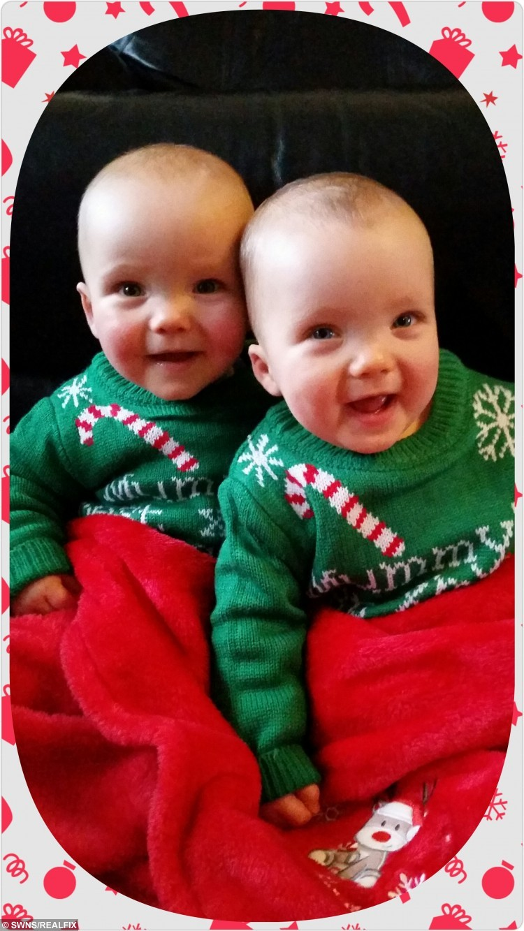 """Ben and Blake Kelly-Blodell who will be celebrating their first Christmas at home after they were born early. See Ross Parry copy RPYTWINS : Meet the bouncing baby boys celebrating their first Christmas despite doctors believing they wouldn't survive when they were born nine weeks early. Twins Ben and Blake Kelly-Bodell weighed less than 3lb with lungs that hadn't developed properly when they arrived prematurely in March. But after months of ups and downs, Christmas has come early for parents Amanda and Dave, who are proud to have two happy and healthy little boys. Amanda, 30, said: """"The boys were so tiny. They were on machines to help them breathe. """"We were watching all the time to see if they were breathing. """"It must be so hard for people whose babies are born prematurely at this time of year. """"I keep thinking about them and I realise how lucky we are. """"We're overjoyed to have Blake and Ben."""" Amanda and Dave, from Poulton-le-Fylde, Lancs., expected the twins to be delivered on May 13 but Amanda's waters broke on February 7."""