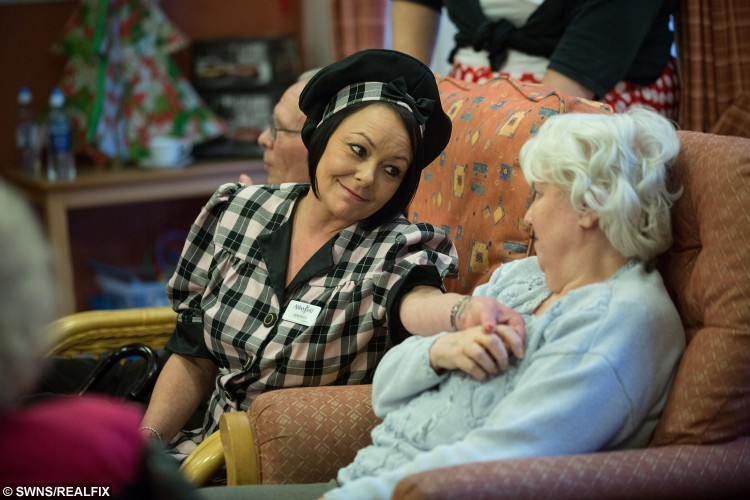"""Staff at Cunningham House in North Wield, Essex, dress up in 1940s/50s costumes and a band sing songs of the era. December 19 2015.   See SWNS story. Record numbers of older people worried about being alone over Christmas have already contacted older people's housing and care charity The Abbeyfield Society as its Coping at Christmas campaign gets into full swing. Since the campaign launch in November, Abbeyfield has handled hundreds of calls from isolated older people who face being alone over the extended Christmas period. As a result, over 400 older people who would otherwise have spent the Christmas period without company are being welcomed into Abbeyfield houses the breadth of the country to enjoy festive events ranging from 1940s fancy dress parties to Christmas Day lunches and even overnight stays so they don't have to wake up alone on Christmas morning. Abbeyfield chief executive Natasha Singarayer said: """"This has been the busiest opening to a Coping at Christmas campaign we have ever experienced. It's fantastic that more and more people know they can reach out to Abbeyfield and be assured that a warm welcome awaits at their local Abbeyfield House."""