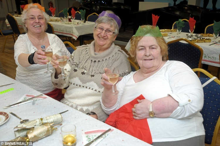 "Mary Eva, Elaine King and Pat Knowles at the Camborne Rugby Club Christmas dinner which was paid for by kind hearted solicitor Peter Campbell. See SWNS story SWLUNCH; A kind-hearted pensioner treated 50 strangers to a slap-up Christmas dinner at his local rugby club to ensure they were not alone over the festive period – and footed the £2K BILL. Retired solicitor Peter Campbell, 87, paid for the festive feast for people in his local community who would otherwise be spending the festive period alone. Generous Peter booked out his local rugby club in Camborne, Cornwall, and laid on a platter of turkey and wine, and he footed the £2,000 bill. Peter was ceaselessly thanked for his efforts, and now he intends to make the meal an annual tradition, and he said he will continue to do the event ""as long as I've got air in my lungs""."