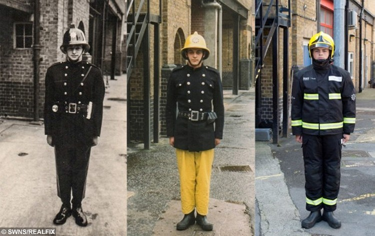 From left the family of firefighters Colin Gunn in 1966, Nick Gunn in 1988 and now Owen Gunn in 2015. See SWNS story SWFIRE; A young cadet recreated a picture taken of his father and grandfather to complete a sixty year family tradition of joining the fire brigade. Owen Gunn, 16, joined the London Fire Brigade as cadet, following in the footsteps of the two generations that came before him. Owen's grandfather Colin Gunn became a firefighter in 1966 and posed for a photograph outside Southwark Training Centre on the day of his pass out ceremony. ColinÃs son, Crew Manager Nick Gunn, joined in 1988 and had his photograph taken in exactly the same place and is currently based at Romford Fire Station. Colin retired in 1991, however, for a few years both father and son served in the Brigade at the same time. Now Owen has had his image taken in exactly the same as he trains with the Fire Cadets to one day become a firefighter himself.