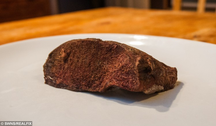 This is an lump of dolphin meat which will go into Arthur Boyt's Christmas dinner. See SWNS story SWDOLPHIN; A man famous for eating roadkill is planning some-fin different for his Christmas lunch - a DOLPHIN he found on the beach. Eccentric Arthur Boyt (corr), 76, has spent years dining on dead animals he salvages from roads including weasels, hedgehogs, squirrels, and otters. He scoops up the flattened carcasses before taking them home and turning them into meals or freezing them for later. Last Christmas he tucked into badger casserole but this year he is preparing cooked common DOLPHIN.