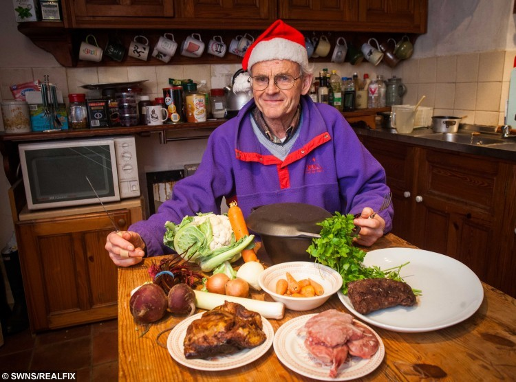 Arthur Boyt from Camelford, Cornwall, who will be making his Christmas dinner using a dolphin he found on the beach. See SWNS story SWDOLPHIN; A man famous for eating roadkill is planning some-fin different for his Christmas lunch - a DOLPHIN he found on the beach. Eccentric Arthur Boyt (corr), 76, has spent years dining on dead animals he salvages from roads including weasels, hedgehogs, squirrels, and otters. He scoops up the flattened carcasses before taking them home and turning them into meals or freezing them for later. Last Christmas he tucked into badger casserole but this year he is preparing cooked common DOLPHIN.