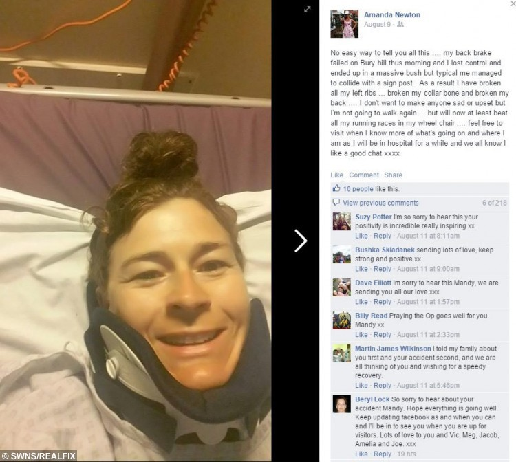 Amanda Newton in her hospital bed - after being told she would never walk again. See SWNS story SWBACK: A paralysed mum, who posted smiling selfies a day after being told she would never walk again, has received more bad news - she won't be home for Christmas. Wheelchair-bound Amanda Newton, 44, lost sensation to the bottom half of her body in a horror bicycle accident four months ago that saw her smash into a street sign at speed – and be catapulted down a slope. Now the tough mum, who never stopped smiling despite being told she may never walk again, has been hit with more bad news because she will not get to see her husband and four children on Christmas Day – because her hospital is too far away. The mum-of-four was originally due to go home today (Weds) but X-rays revealed that an invasive surgery she had four months ago was unsuccessful so she had to go back under the knife.