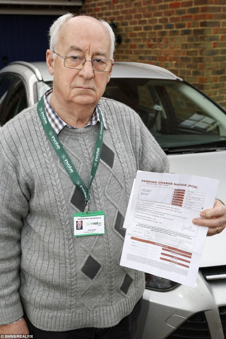 Keith Wright who was given a parking ticket after volunteering to take people to a doctors surgery. See Masons copy MNFINE: A volunteer driver was slapped with a £60 fine after falling foul of new parking rules at a doctors' surgery. Keith Wright, who works with charity Involve, had taken a disabled woman to The College Practice in College Road, Maldstone, as he has done for 14 years. The 75-year-old was shocked three weeks later when a fine from parking contractor Civil Enforcement Ltd arrived in the post. No-one approached him on the day while he was parked in one of three bays designed for people with limited mobility while he waited for half an hour.