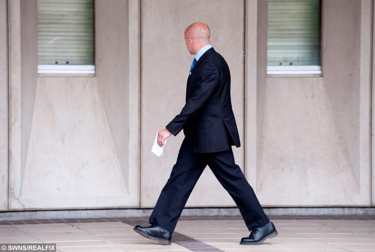 FILE PICTURE - Linked to todays NTI story NTIFIRE, January 4, 2016, about the sentencing of David Pearson at Shrewsbury Crown Court. Kingsley Tolley, 37, pictured leaving Shrewsbury Crown Court prior to his suicide.  He was accused of torching property with his colleague David Pearson, between June 29 and September 3, 2014.  Tolley was later found dead in a suspected suicide near his home on July 24, 2015.