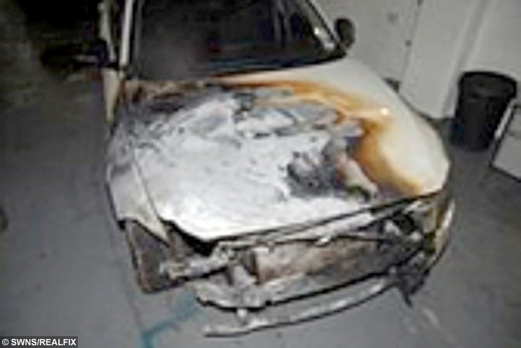 Fire damage caused by firefighter David Pearson, 31, who has been sentenced to over five years in prison today at Shrewsbury Crown Court after pleading guilty to conspiracy to destroy or damage property.  January 4, 2016. The part time firefighter was accused of setting a series of fires between July and September 2014.  He caused thousands of pounds of damage when he set fire to ten bins and vehicles while working as a retained firefighter.  He was accused of torching property with his colleague Kinglsey Tolley, 36, between June 29 and September 3, 2014.  Tolley was later found dead in a suspected suicide near his home on July 24 , 2015.