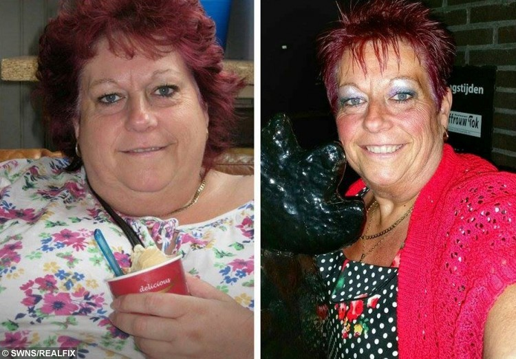 """Before and after of Alison Berry from South Shields, Tyne and Wear, who has lost 10 stone with the help of Slimming World and is able to fit in her wegging dress from 38 years ago. See Ross Parry copy RPYBRIDE : A super slimmer is celebrating after losing HALF her body weight - meaning she's able to slip back into the wedding dress she wore 38 years ago. Alison Berry, 56, had ballooned to 22st 1.5lbs after years of yo-yo dieting, leaving her wearing a dress size 30 to 32. But after going on a 10-stone super slimming spree, she slimmed down to 12st 1lb as is now even able to squeeze into the wedding dress she wore in 1978 as a fresh-face 18-year-old. The mum-of-three, from Hebburn, Tyne & Wear, said: """"I found my dress in a box the other day and just thought I would try it on and I just couldn't believe it when it fit.  """"I was quite emotional about it. It was a week before my 19th birthday when I got married so to think I'm back to the size I was then is amazing."""