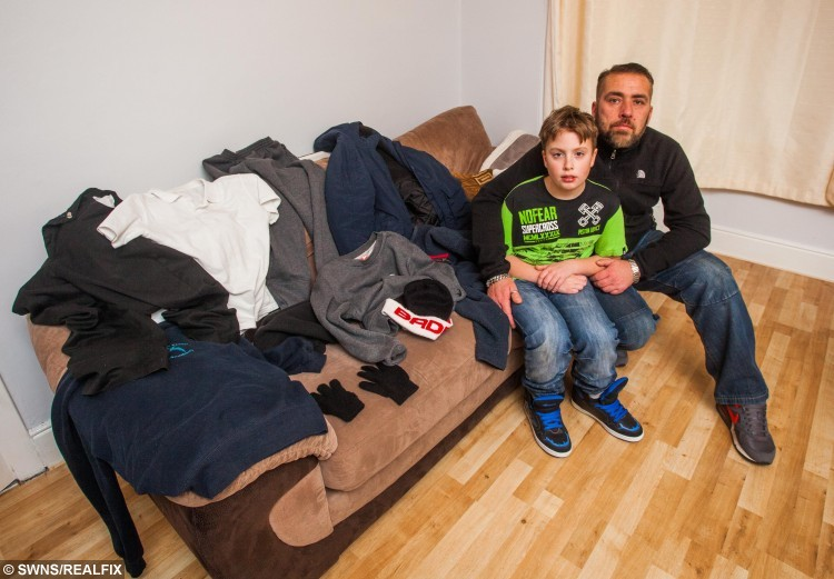 Vincent Dinan from Paignton, Devon, alongside his father Gary and all of the clothes that he needds in order to step outside of his house. Vincent suffers from a rare allergy to the cold which could kill him. 13/01/2016  See SWNS story SWCOLD; Spare a thought for schoolboy Vincent Dinan as temperatures plummet - he suffers from a rare allergy to the COLD which could KILL him. The ten-year-old breaks out in hives at a sudden drop in temperature, which can cause a potentially-fatal anaphylactic shock. His dedicated father Gary, 34, has to watch him around-the-clock to ensure he is not exposed to the cold. The heating is kept on 24-hours a day at home and Vincent has to be rushed into school after walking there with layers of jumpers and coats.
