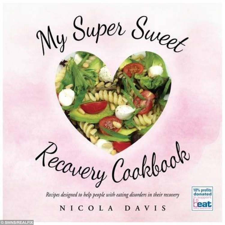 The cover design of Nicola Davis's cookbook. A brave teenager whose eating disorder saw her weight plummet to six stone has published a cookbook of the recipes which helped her recover. See SWNS story SWBOOK. Former anorexic Nicola Davis, 19, began starving herself two years ago and quickly became dangerously thin, shedding more than two stone. She exercised frequently and survived on minus calories but continued cooking in spite of her illness, creating tasty treats for her family - which she wouldn't touch. But her jealously soon got the better of her and, unable to watch her family try her recipes without her, she slowly started eating properly again.
