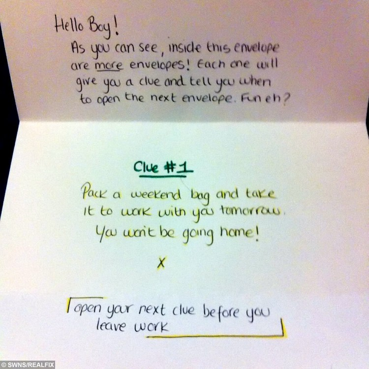 Collect of one of the notes Emma Collins wrote to her boyfriend Alex Collins. See SWNS story SWQUEST; A girlfriend's romantic treasure hunt for her long-distance partner has gone viral - after her clues led him on a 230-mile quest on a train, bus and plane. Sweethearts Alex Collins and Emma Cox, 27, both met while travelling in Thailand but were forced to live 190 miles apart when they returned home to the UK. But cunning Emma set up a series of clues for her beau, starting with an envelope hidden in a cupboard, and ending with a flight to Dublin - where she was waiting. The smitten pair, who enjoyed a loved-up weekend break, shared the photos of her clues online, and the posts went viral with 130,000 views.