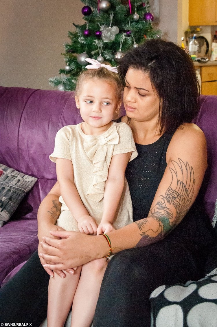 Kaya & Nicole Langmead. Mum Nicole Langmead was furious after pranksters superglued her four year old daughter Kaya to a toilet in McDonalds in Exeter, Devon. See SWNS story SWGLUE; A mum has condemned pranksters after her four-year-old girl was SUPERGLUED to a toilet seat in McDonald's. Furious Nicole Langmead, 24, was enjoying a meal at the fast food branch when her four-year-old daughter Kaya used the loo while she waited outside. But several minutes later the youngster emerged from the ground floor cubicle in agony saying she had been stuck on the seat. Nicole found a strong clear adhesive - believed to be superglue - had been smeared over the seat which had ripped some skin off of Kaya's legs. Police are investigating and want to talk to two teenage girls who were came out of the cubicle in Exeter, Devon, just before Kaya went in.