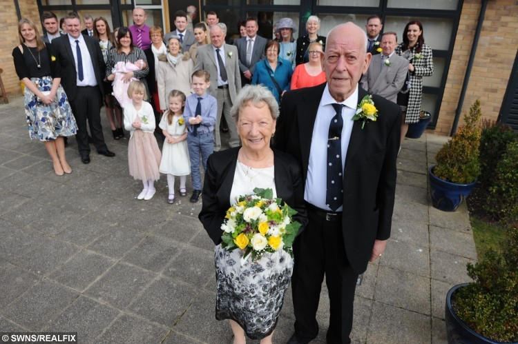The wedding of Thomas Mensforth and Emily Stephenson at South Shields Registry Office. See Ross Parry copy RPYWED : An OAP couple with a combined age of 172 have tied the knot - but can't go on honeymoon because of hospital appointments. Thomas Mensforth, 85, and Emily Stephenson, 87, first met half a century ago when they were part of the same wider group of friends. But their lives went in different directions and they both got married and had children and lost touch around 15 years ago. It was only when Thomas spotted the death announcement of Emily's son Albert, 59, last summer that he made contact with the funeral directors to pass on a card sending his sympathy. One of his granddaughters then went a step further and put the two in touch by phone and they have now got married.