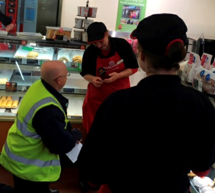 With this pasty – He got down on one knee in GREGGS!