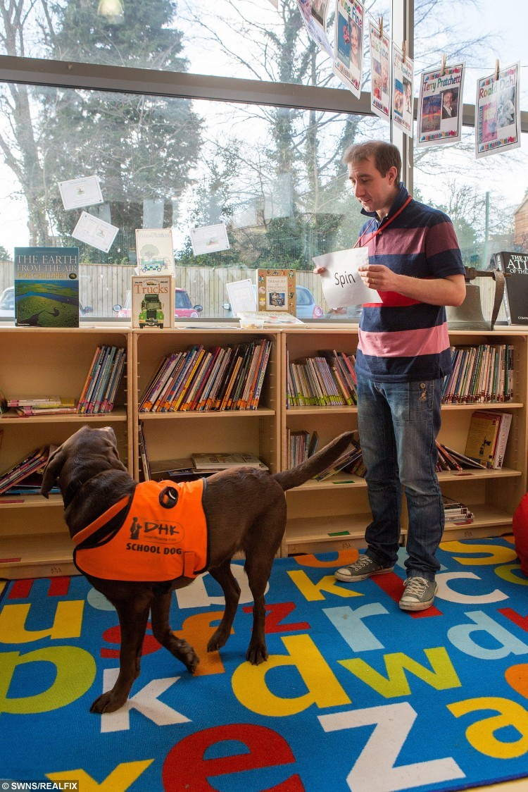 Nik with chocolate labrador Fernie demonstrating her reading