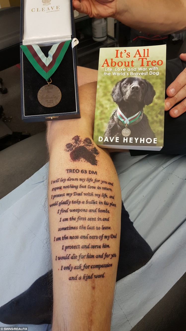 Dave's tattoo tribute to dog Treo - using the pooch's ashes