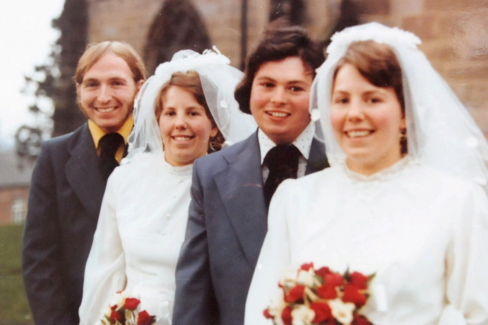 Ronald, Ann, Derrick and Lynda pictured on their joint wedding day.