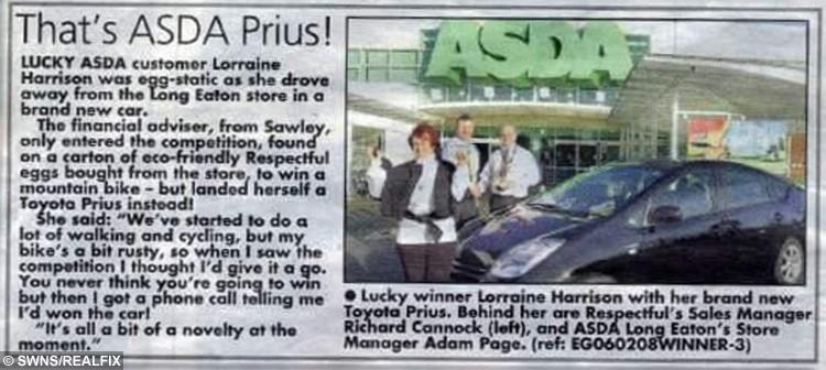 Lorraine won a Toyota car