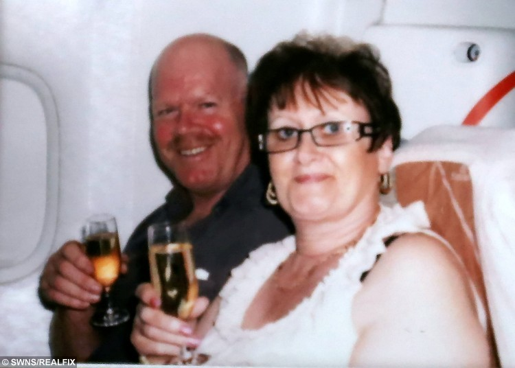 Lorraine with her husband on route to a free holiday in Dubai