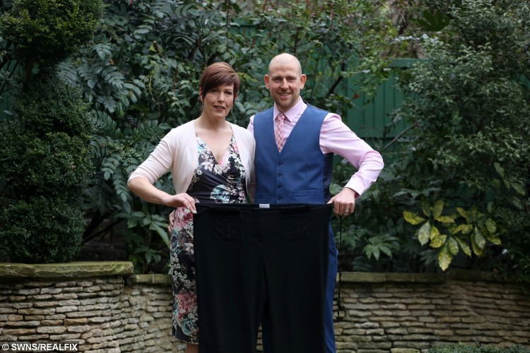 Andrew and Paula with an old pair of trousers.