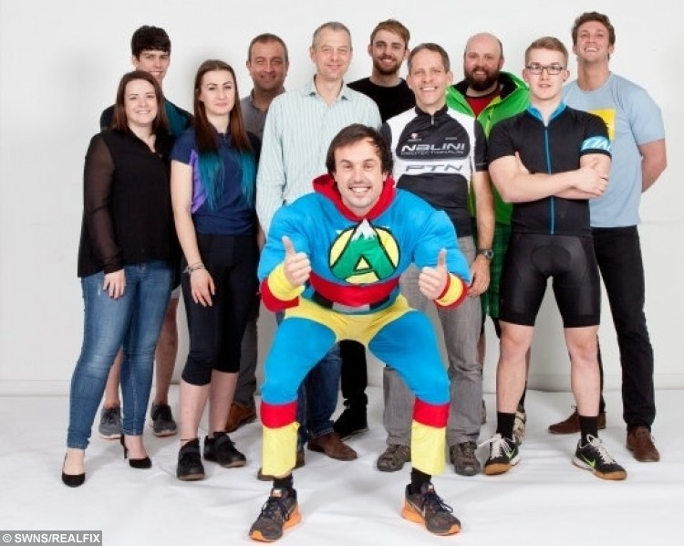 Jamie McDonald and his fellow cyclists who came to the rescue of Gemma Lloyd when she got stuck in the back of a van