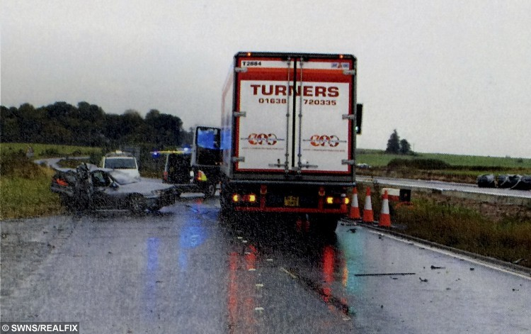 The scene of the crash that killed Brian Herrick on the A453 in the East Midlands
