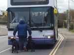Furious dog owner barred from boarding bus with his pets BLOCKED the road