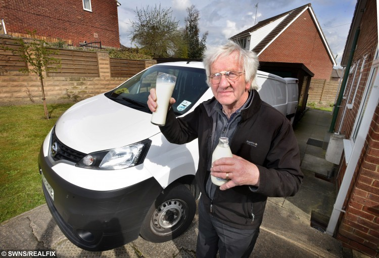 Milkman Brian Cousins from Liversedge, West Yorkshire, who is giving up after 40 years after being accosted by youths in the early morning during one his milk rounds. See Ross Parry copy RPYMILK : A dedicated milkman has been forced to quit after 40 YEARS of rounds following a frightening early morning fight with two youths who tried to nick his float. Great-granddad Brian Cousins was left badly bruised as he fought to save his van when two yobs jumped in and tried to drive off.  The brave 70-year-old struggled with the door as the pair managed to pull the driver out of his seat and gain back control of his van. But despite his courage the attack has left Mr Cousins shaken and his worried family has taken the decision for him to give up his job.